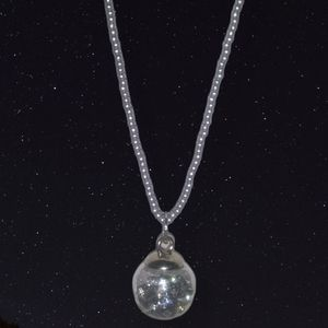 """Beaded 20"""" Necklace with a Globe full of Bling"""